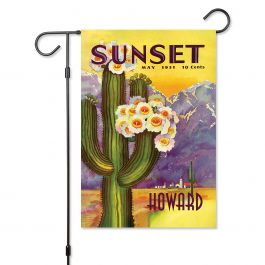 Cactus Bloom Personalized Garden Flag