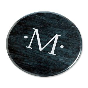 Marble Personalized Lazy Susan in Black