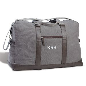 Durable Large Dark Grey Canvas Duffel with Monogram