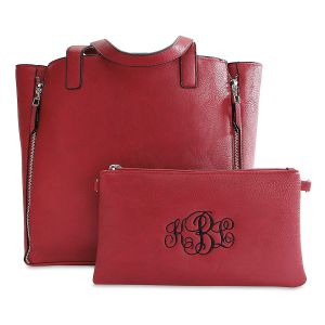 Personalized Red Carry-All Nora Tote Bag with Matching Crossbody Purse