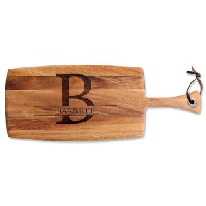 Initial & Name Acacia Paddle Cutting Board
