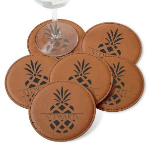 Personalized Pineapple Coaster Set