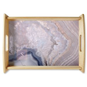Personalized Initialed Agate Natural Wood Serving Tray