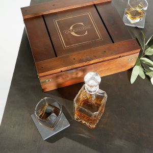 Whiskey Personalized Gift Box Set with Decanter