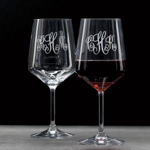 Red Stemmed Personalized Wine Glass