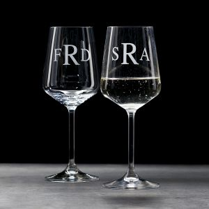 White Stemmed Personalized Wine Glass