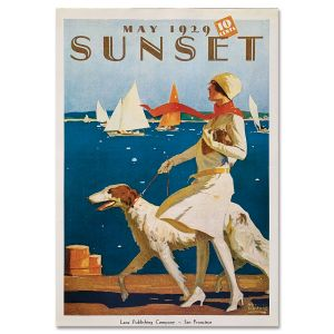 Sunset Magazine Poster: May 1929 - Woman with Dog