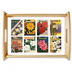 Floral Collage Natural Wood Serving Tray