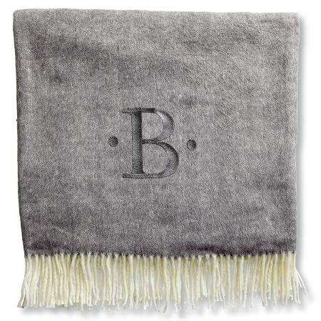 Personalized Blanket with Dots and Initial-Gray-816105B