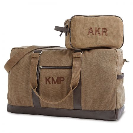 Durable, Monogrammed, Large Tan Canvas Duffel