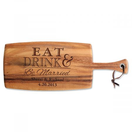 Eat, Drink & Be Married Paddle Personalized Cutting Board