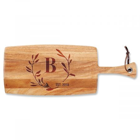 Circle Laurel Paddle Personalized Cutting Board