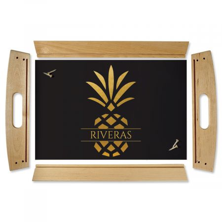 Personalized Pineapple Family Name Natural Wood Serving Tray