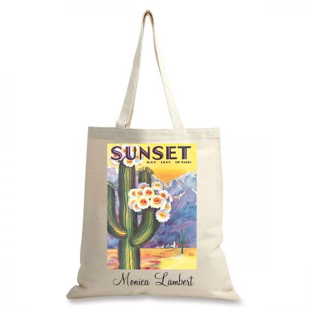 Cactus Bloom Personalized Canvas Tote