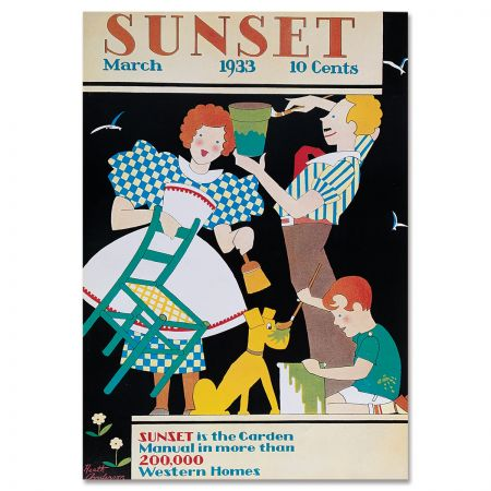 Sunset Magazine Poster: March 1933 - Busy Family
