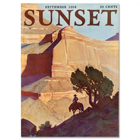 Sunset Magazine Poster: September 1934 - Horse and Rider in Zion Canyon