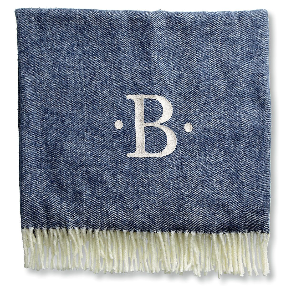 Personalized Blanket with Dots and Initial-Navy-816105C