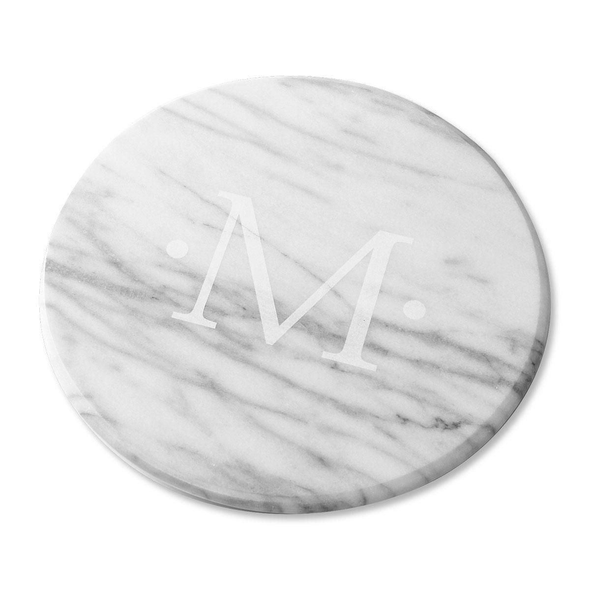 Marble Personalized Lazy Susan in White
