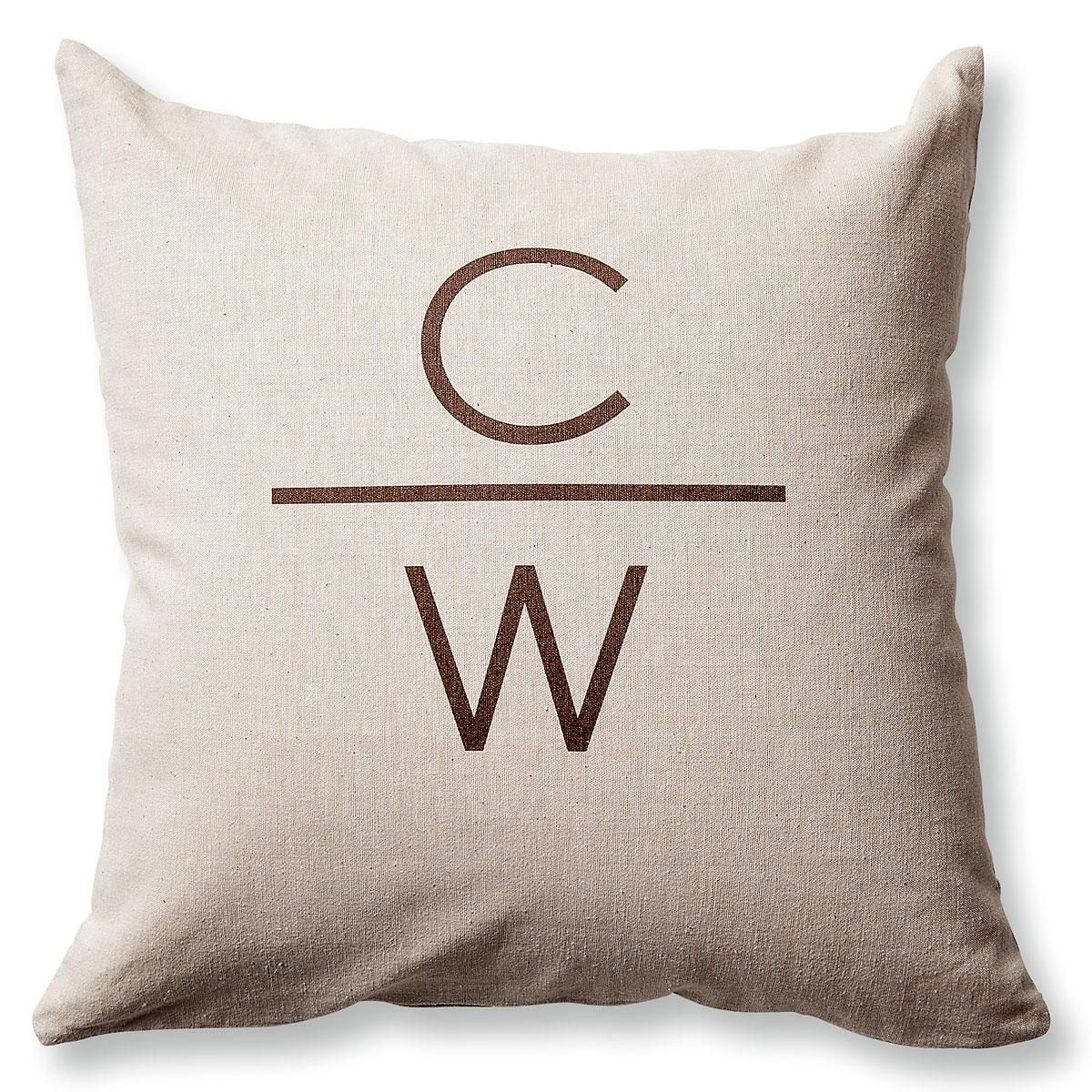 2 Initials with Line Pillow