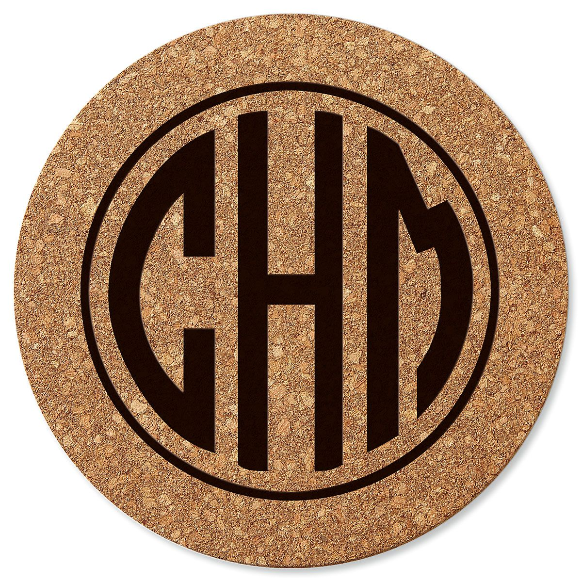 Personalized Circle Monogram Round Cork Trivet  by Designer Jillian Yee-Pham