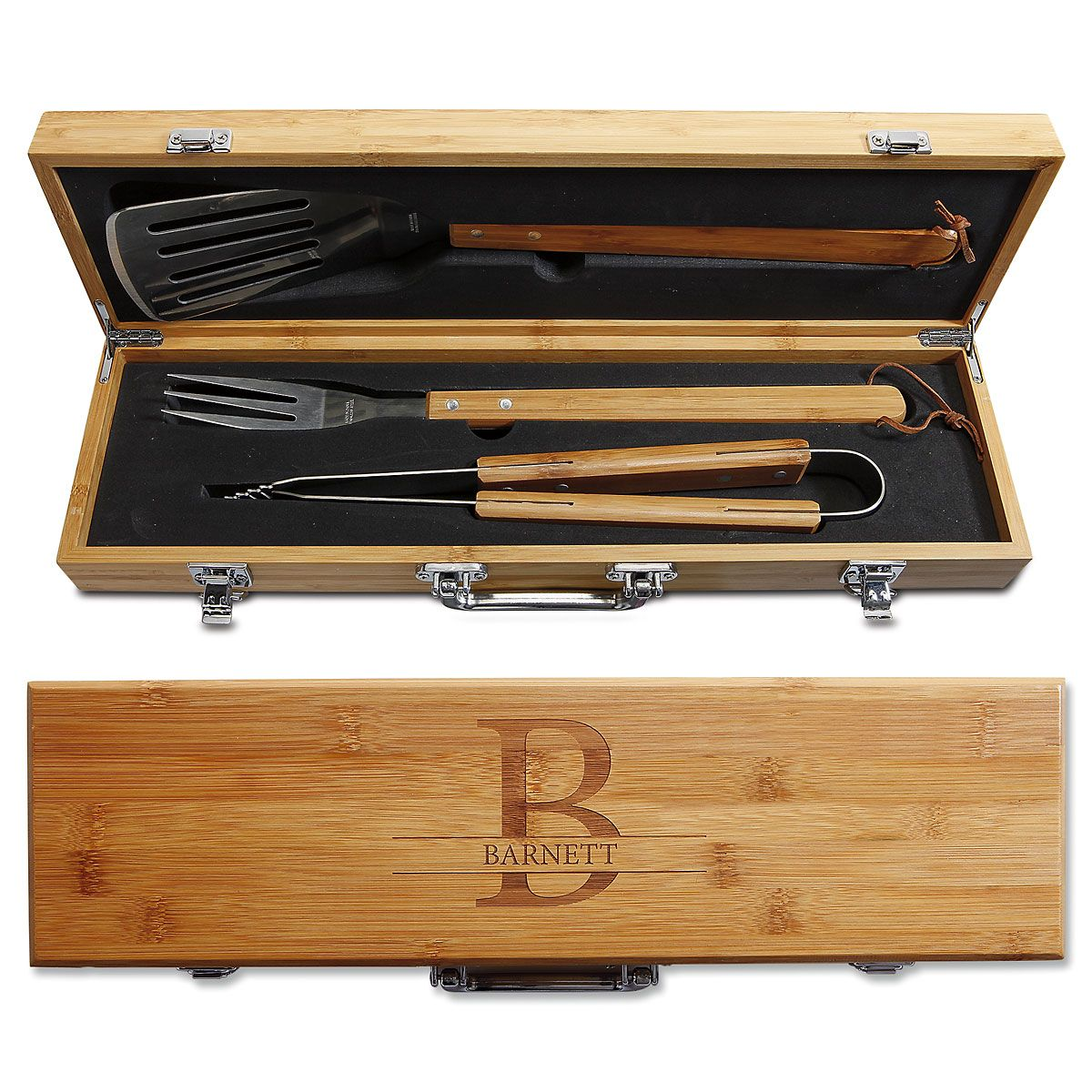 Personalized Grill Master Bamboo BBQ Set