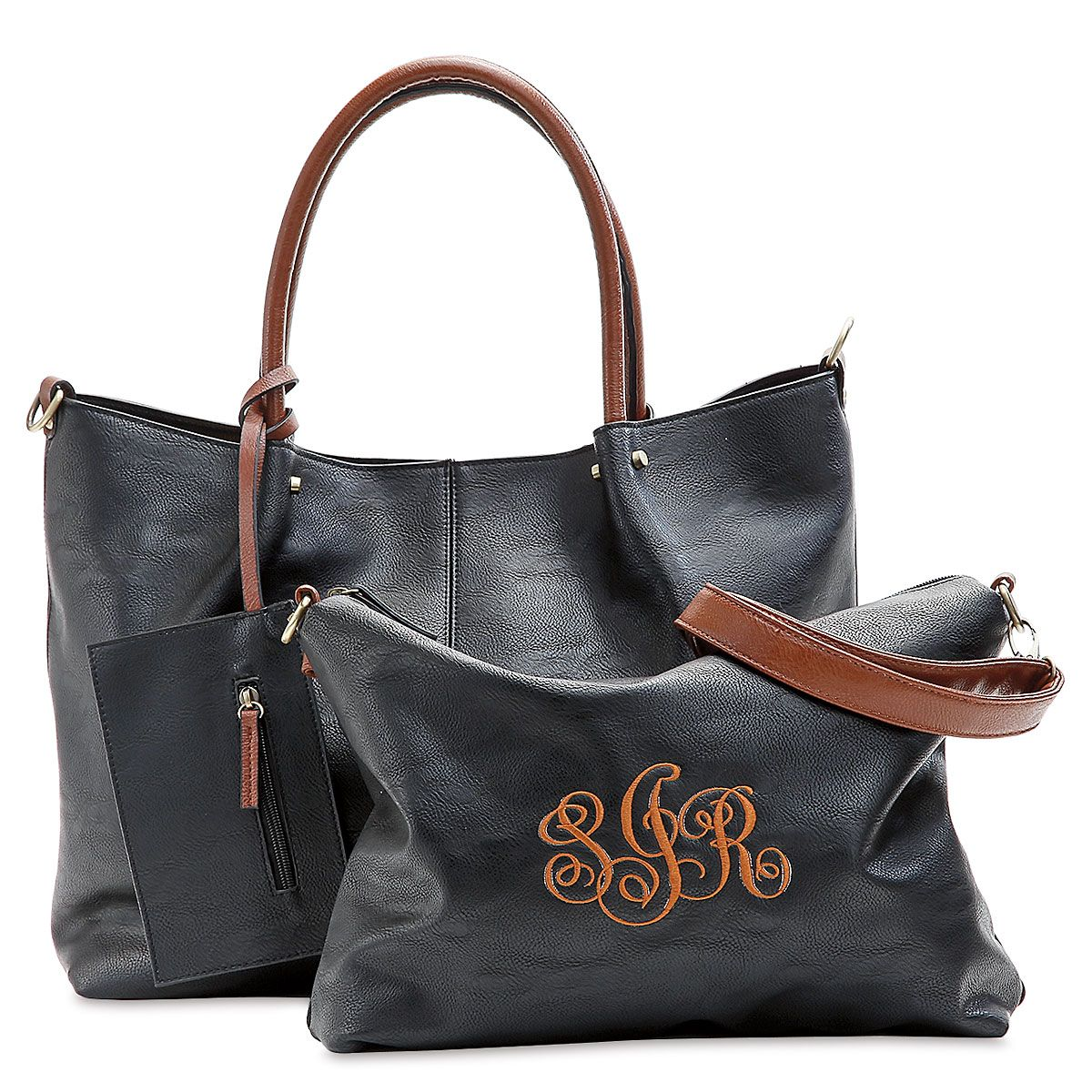 Personalized Black Vegan Leather Tote Set