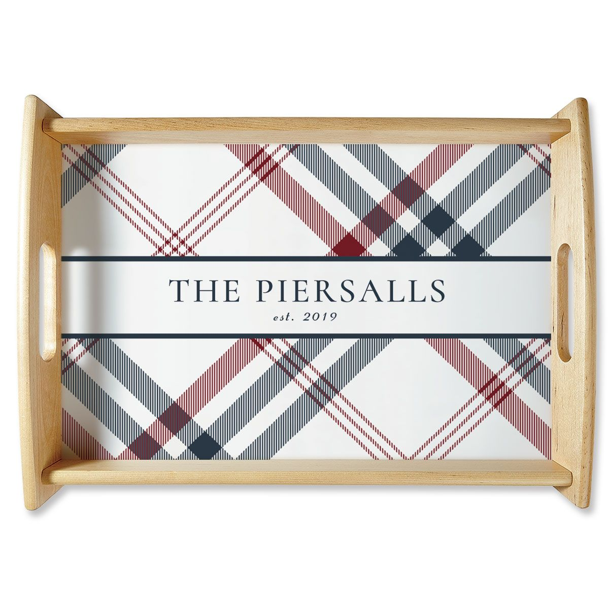 Personalized Plaid Natural Wood Serving Tray