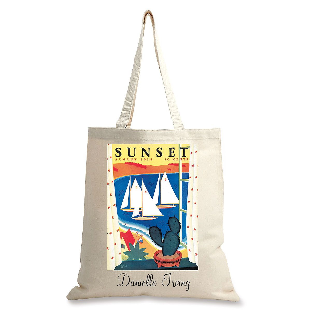 Succulent View Personalized Canvas Tote