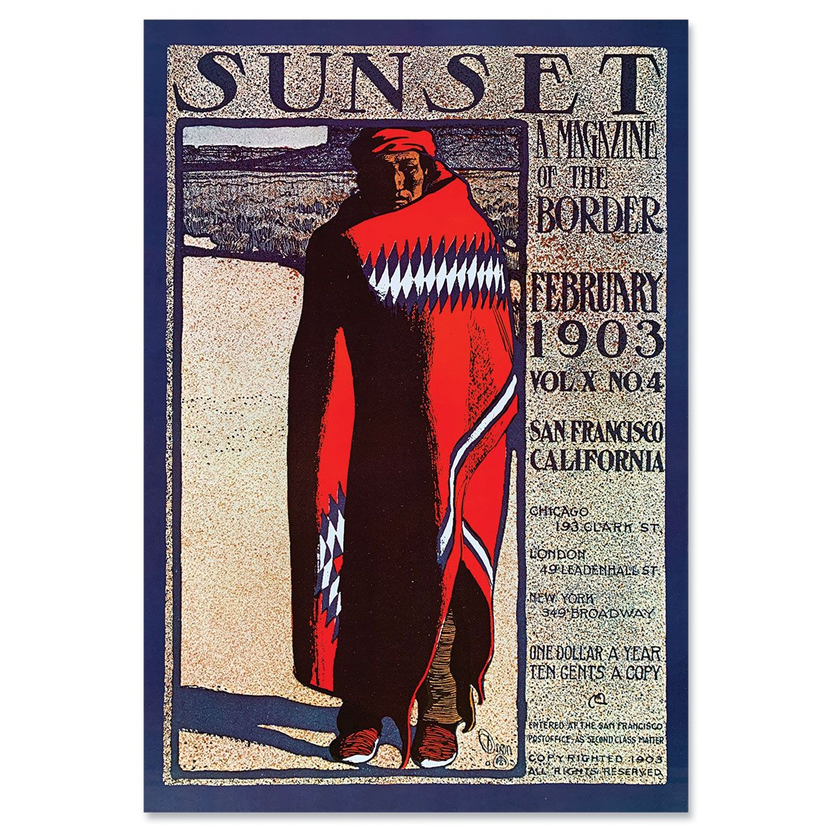 Sunset Magazine Poster: February 1903 - Blanket-Wrapped Navajo